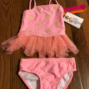 KATE MACK PINK TWO PIECE BIKINI BATHING SUIT TUTU